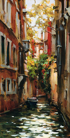 Dmitri Danish Original Oil - A Quiet Place Venice