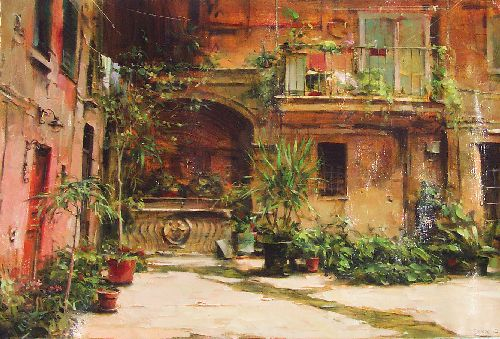 Dmitri Danish Limited Edition Giclee - Backyard in Rome