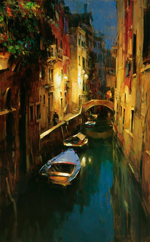 Dmitri Danish Limited Edition Giclee - Evening at the Canal