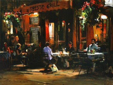 Dmitri Danish Original Oil - Evening Coffee Shop