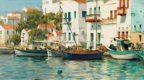 Dmitri Danish Limited Edition Giclee - Grecian Harbor