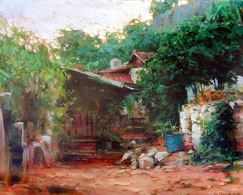 Dmitri Danish Original Oil - House in the Hills