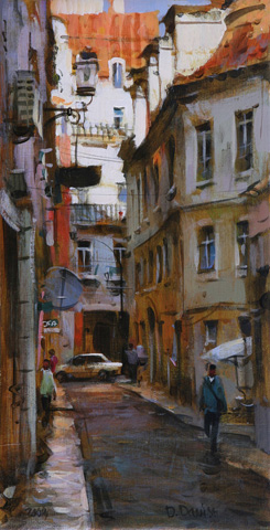 Dmitri Danish Original Oil - Lisbon Street