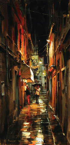 Dmitri Danish Original Oil - Rainy Night