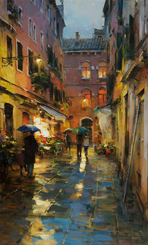 Dmitri Danish Limited Edition Giclee - Rainy Venice