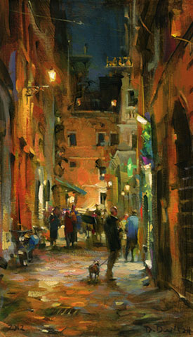 Dmitri Danish Original Oil - Roman Street Night