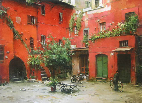 Dmitri Danish Original Oil - Rome Courtyard II