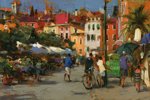 Dmitri Danish Original Oil - Seaside Town Summer