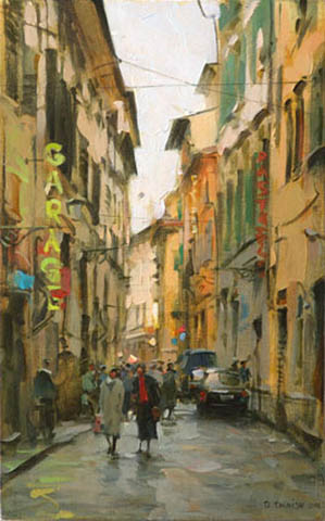 Dmitri Danish Original Oil - Street in Florence