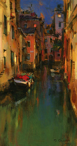 Dmitri danish original oil venice at night featured for Atlanta oil painting artists