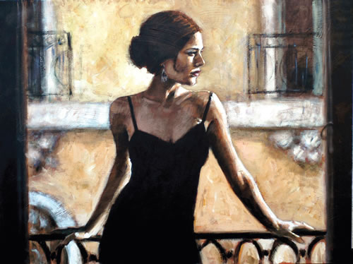 Fabian Perez - Brunette at the Balcony