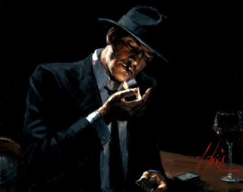 Fabian Perez - Man Lighting Cigarette