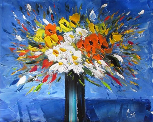 Louis Magre - Bouquet on Blue