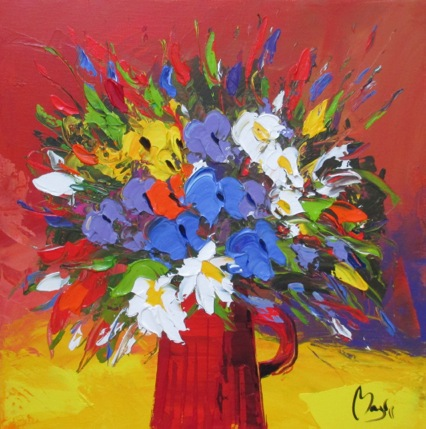 Louis Magre - Bouquet on Red