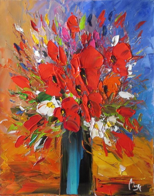 Louis Magre - Tall Bouquet of Red
