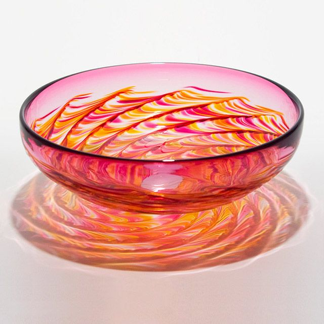 Michael Trimpol - Optic Rib Bowl in Summer with Cranberry