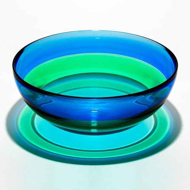 Michael Trimpol - Transparent Banded Bowl in Blue Green Lagoon