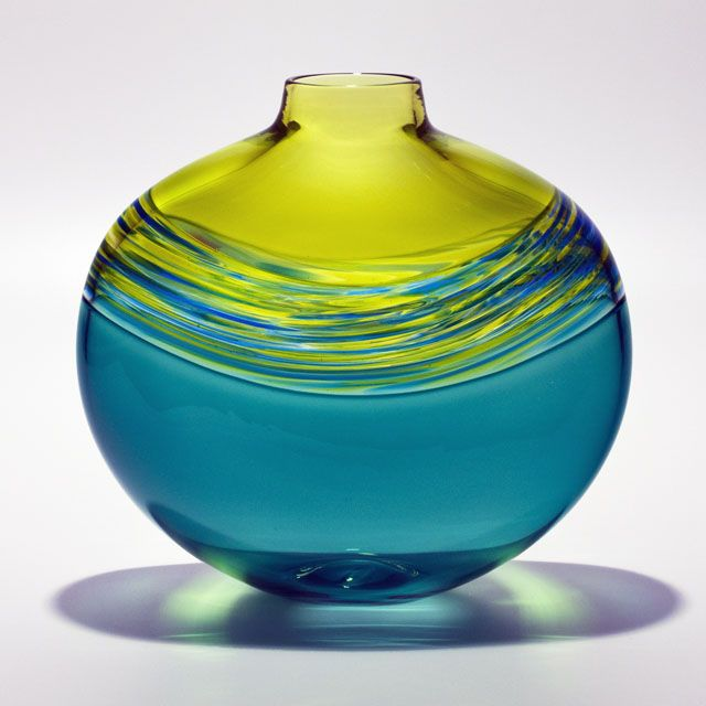 Michael Trimpol - Transparent Banded Vortex Flat in Lime Lime Turquoise Aquamarine
