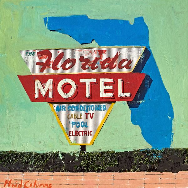 Plaid Columns Mixed Media - The Florida Motel