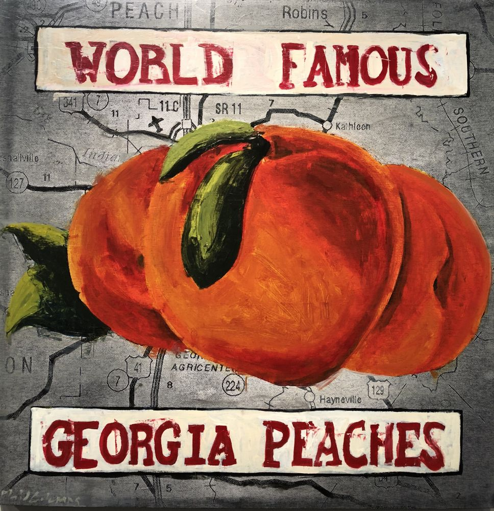 Plaid Columns Mixed Media - World Famous Georgia Peaches