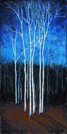Robert Cook - White Trees on Blue