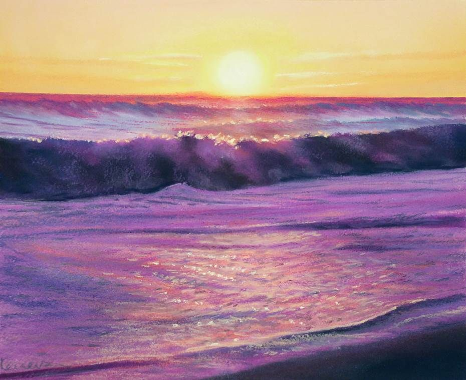 Simon Kenevan - Big Seas at Sunrise, pastel