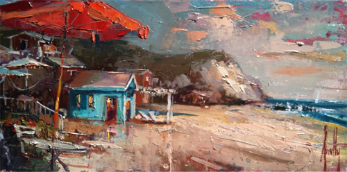 Steven Quartly Original Oil - A Day by the Sea