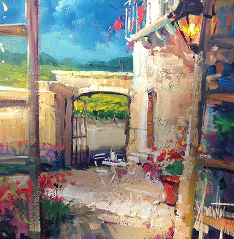 Steven Quartly Original Oils - Evening in the Courtyard