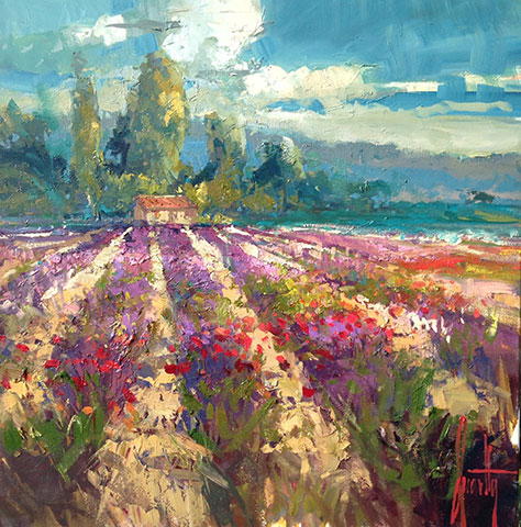 Steven Quartly Original Oils - Fields of Lavender