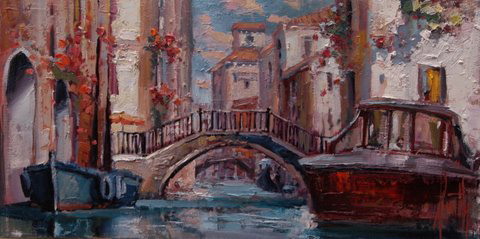 Steven Quartly Original Oil - Venetian Landscape
