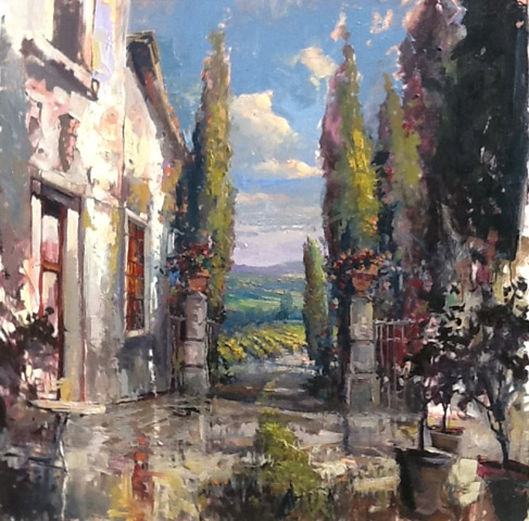 Steven Quartly Original Oils - Via en Tuscana (work in progress)